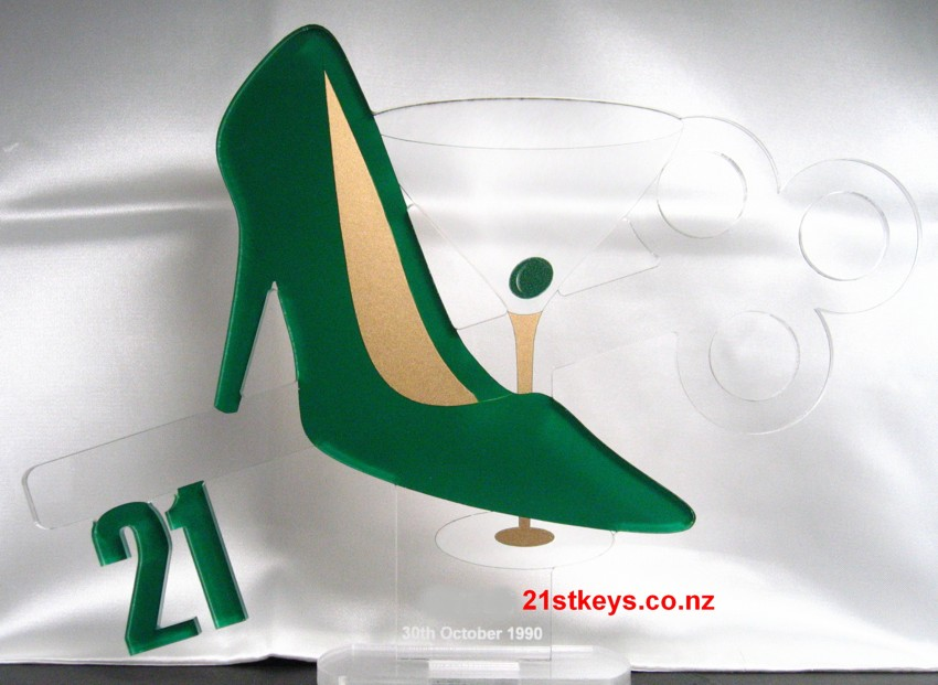 Green Stiletto Martini 21st Birthday Key