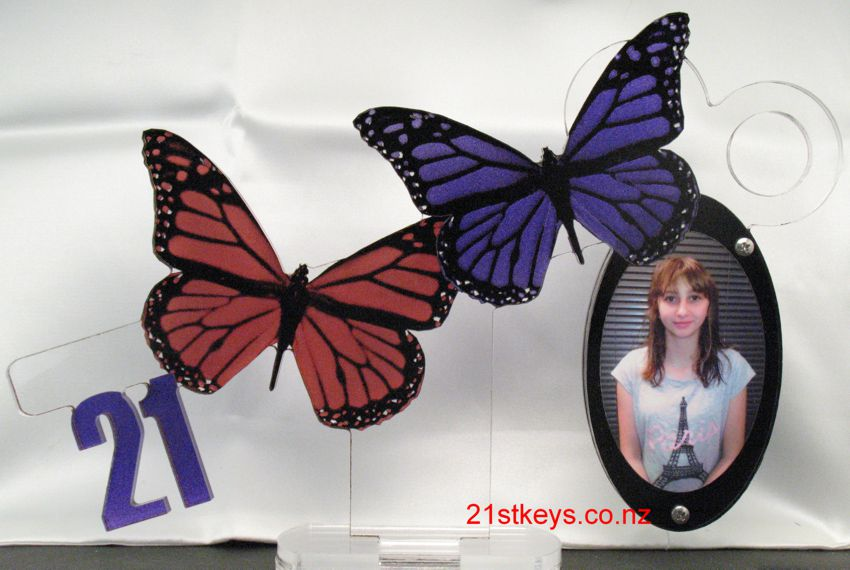 Purple and Red Twin Butterfly 21st Key