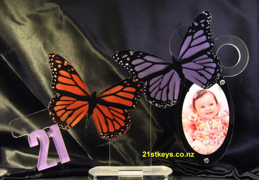 Twin Butterfly Pictue Birthday 21st Key